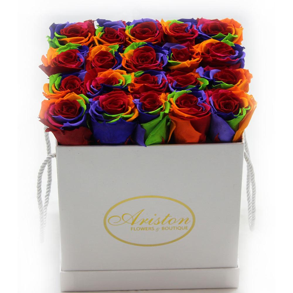 Everlasting Rainbow Roses Ariston Flowers And Boutique